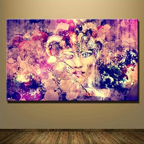 Sanzangtang Muurkunst Mooi Meisjes gezicht olieverfschilderij op canvas abstract schilderij goedkoop beeld decoratie woonkamer frameloos