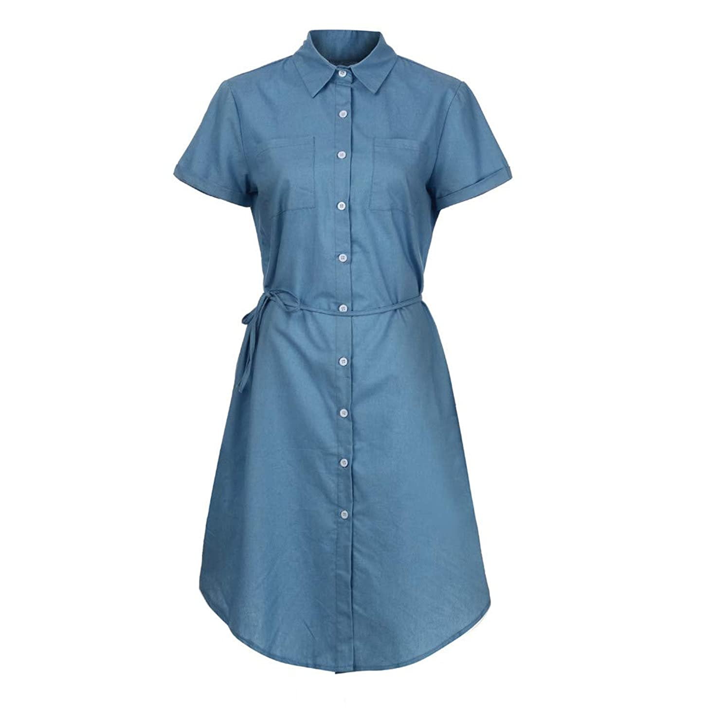 WYTong Dress For Women Denim Short-Sleeved Solid Color Button Strap Dress Casual Round Neck Bow Tie Pencil Dress