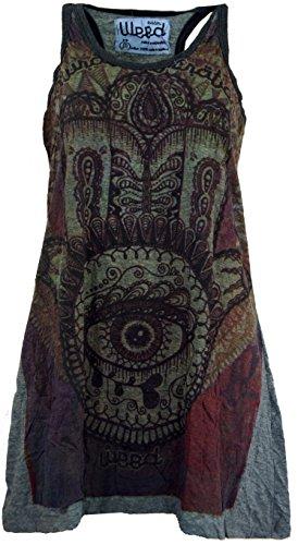 GURU SHOP Weed Top, Longshirt, Minikleid Fatimas Hand, Damen, Granitgrau, Baumwolle, Size:M (38), Bedrucktes Shirt Alternative Bekleidung