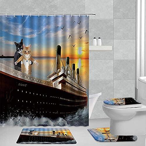 LTAYZ Shower Curtains Kürbis Duschvorhang Aquarell Herbst Kürbisse & Ahornblatt Herbsternte Badezimmerzubehör 4 Stück Set mit Rutschfester Badematte, WC-Deckelabdeckung & U-Form-Teppich
