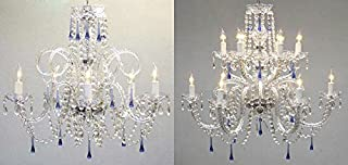 Set of 2 - AUTHENTIC ALL CRYSTAL CHANDELIER CHANDELIERS WITH BLUE CRYSTALS!