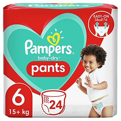 Pampers Baby-Dry Pants 6, 24Höschenwindeln, Einfaches An- und Ausziehen, Zuverlässige Pampers Trockenheit, 15kg+