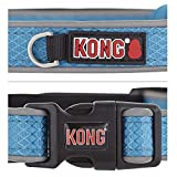 KONG Reflective Premium Neoprene Padded Dog Collar Offered by Barker Brands Inc. (Large, Blue)
