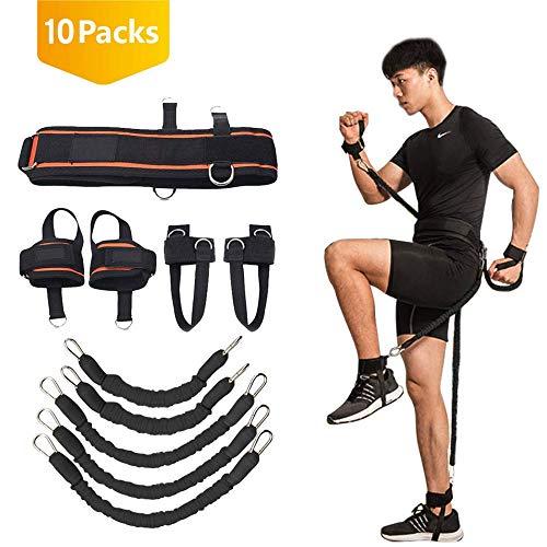 YNXing Cuerda de Entrenamiento de Fuerza para Boxeo, Baloncesto, Valla Entrenamiento Resistencia Cuerda elástica Azul Cuerda de tensión Equipo de Fitness (Negro)