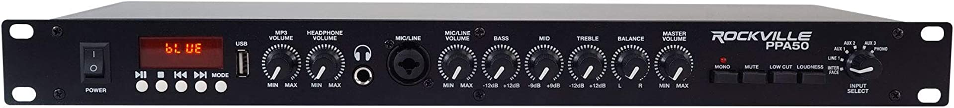 Rockville PPA50 Preamp Pro 1U Pre-Amplifier w/Bluetooth/USB/Computer Interface