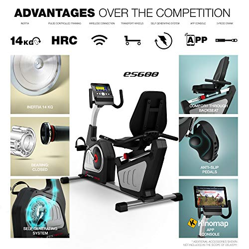 Sportstech ES600 Professional Recumbent Bike - German Quality Brand -Video Events & Multiplayer APP & integrated power generator, Pulse belt optional, HRC + ergonomic seating comfort, Ergometer…