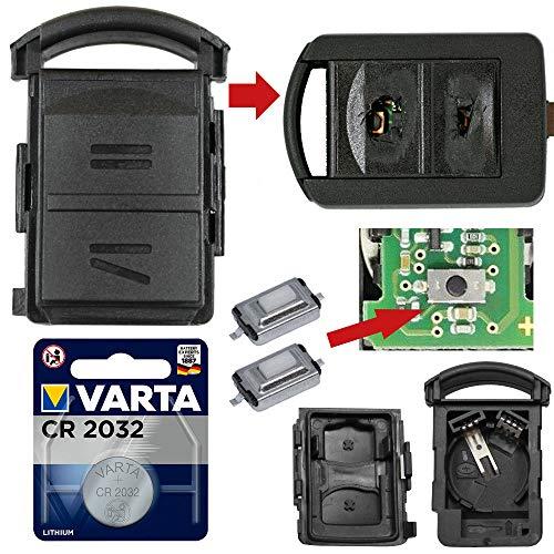 Repair Reparatur Satz Auto Schlüssel Austausch Gehäuse mit 2 Tasten + Drucktasten + CR2032 Batterie kompatibel für Opel Corsa C Meriva A Combo C Tigra B