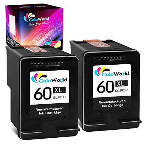 ColoWorld Remanufactured Ink Cartridge Replacement for HP 60 60XL Use with HP Photosmart C4795 C4680 D110a Deskjet F4480 F2430 D2530 D2680 D1660 D2660 Envy 120 111 Printer (2 Black)
