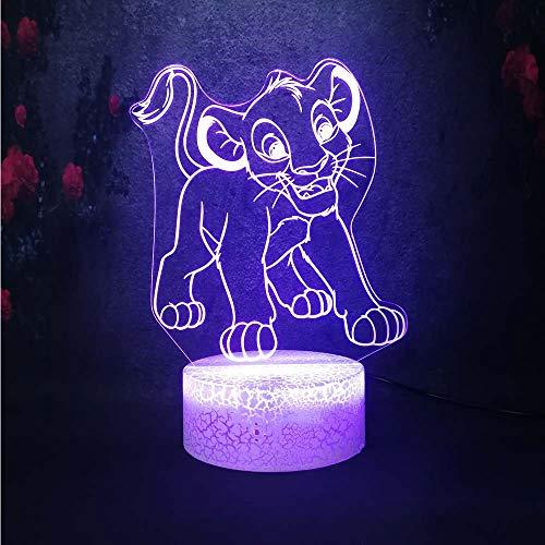 Anime Cartoon Animal Le Lion Roi Simba Forme Led Kid Night Light 3d Creative Illusion 7 Changement de Couleur Lampe De Table De Chevet