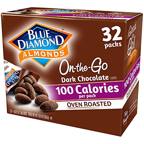 Blue Diamond Almonds Oven Roasted Dark Chocolate Flavored Snack Nuts, 100 Calorie Packs, 32 Count