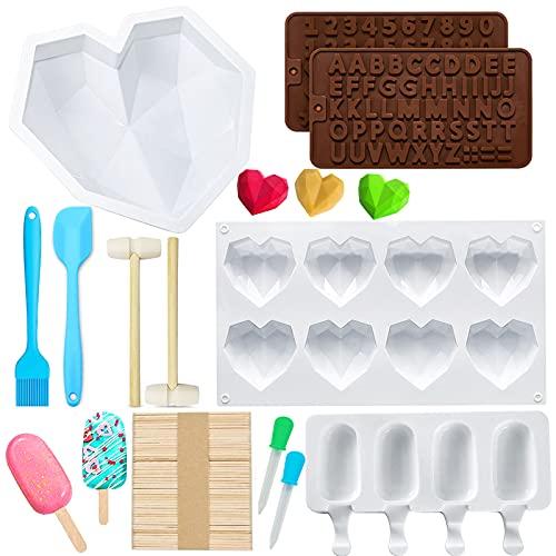 TaimeiMao 3D Diamant Herz Formen Silikonform,Silikon Buchstaben Zahlen Form,Schokoladenformen,Pralinenform,Eisformen EIS am stiel,3D Silikon Kuchenform Herzform,Handgemachte Backwerkzeuge