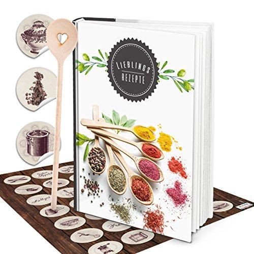 Cadeauset Grote HARDCOVER XXL receptenboek DIN A4 kookboek om zelf te schrijven kruiden + kooklepel + vintage stickers recepten notitieboek keuken geschenk koken verjaardag