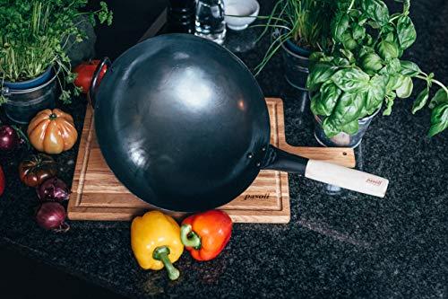 Wok Pasoli | PREMARCADO AL FUEGO | fondo redondo | Para la estufa de gas o la parrilla | 30 cm de diámetro | wok tradicional de acero al carbono martilleado a mano | capa natural antiadherente