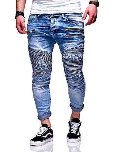 MT Styles Herren Biker Jeans Hose RJ-5037 [Hellblau, W30/L32]