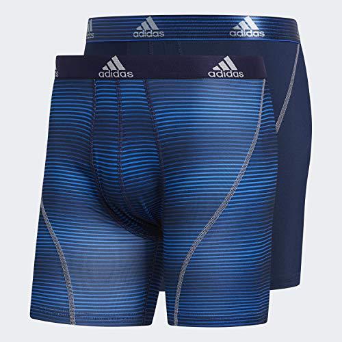 adidas Men's Sport Performance Boxer Briefs Underwear (2 Pack), Sundown Collegiate Navy Collegiate Navy/Grey, MEDIUM