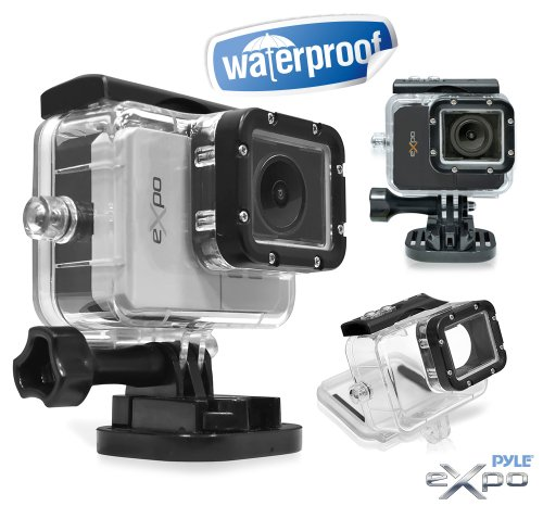 Pyle Expo Sports Action Camera - HD 1080P Mini Hi-Res Camcorder w/ Wifi, 20 MP Cam, 2