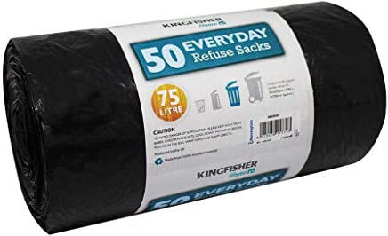 Kingfisher BB50HD 75 Litre Everyday Dustbin Bin Bag Liners/Refuse Sacks Black (50 Bags)