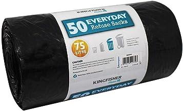 Kingfisher BB50HD 75 Litre Everyday Dustbin Bin Bag Liners/Refuse Sacks Black (50 Bags)