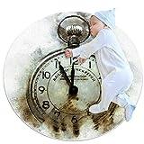 Tapete decorativo de goma para reloj de estilo retro con reloj de pulsera, 31.5 x 31.5 pulgadas