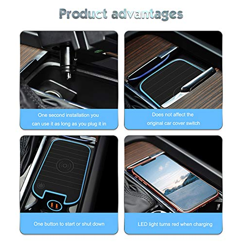 CAREUD QI Wireless Car Charger for Volvo XC90 XC60 S90 S60 V90 V60 Accessories with QC 3.0 USB Fast Charging Port Wireless Phone Charging Pad for Car
