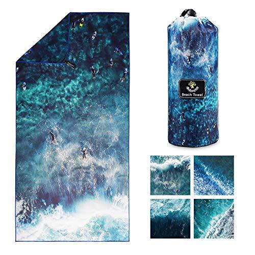 4Monster Mikrofaser Strandtuch Ultra Leicht, Sandabweisendes Handtuch Schnelltrocknend, Saugfähiges Sporthandtuch für Strand Pool Wassersport Yoga Fitness