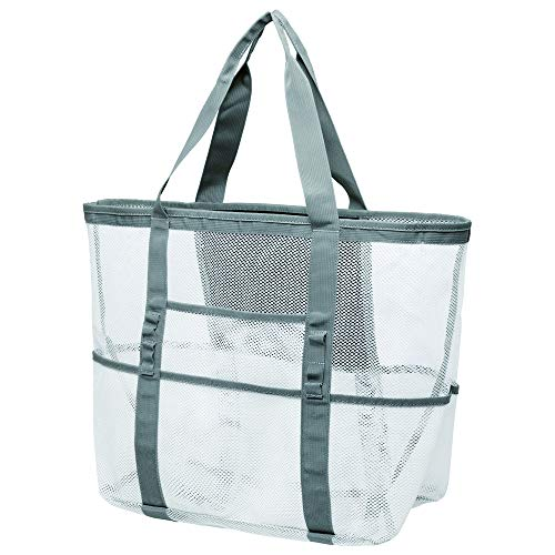 Read About Mesh Beach Bag, Cambond Oversized Beach Tote Bag 9 Pockets Beach Toy Bag, Large (White)