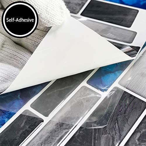 Art3d 10-Sheet Premium Self-Adhesive Kitchen Backsplash Tiles in Marble, 12