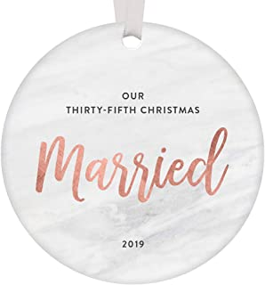 35 Years Married Couple Christmas Ornament Dated 2019 Parents Grandparents 35th Wedding Anniversary Party Gift Idea Mom & Dad Happy Marriage Modern Rose Gold Marble 3