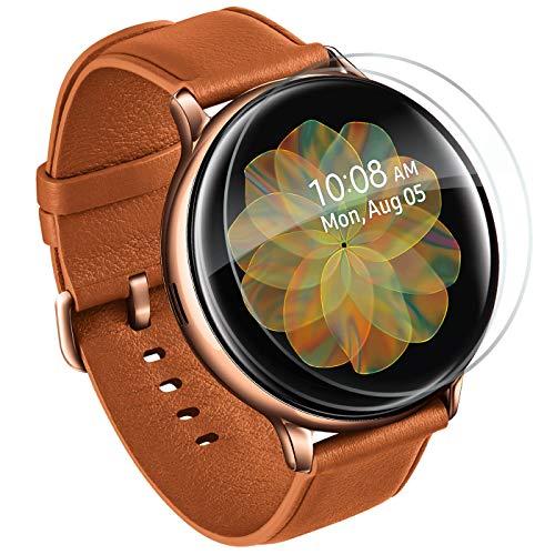 Lebama Panzerfolie für Samsung Galaxy Watch Active 2 44mm Schutzfolie Bildschirmschutz Curved Clear Flexible Premium Zubehör Klar - 2 x Bildschirm Folie für Samsung Galaxy Watch ACTIVE2 2019 44 mm