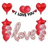 Ysguangs Globos 1 Red Love Set de Oro Rosa Fiesta de la Boda del corazón de la Hoja de Helio Globos Carta de Amor de Labios Aniversario Globo Decoración (Color : Set 2)