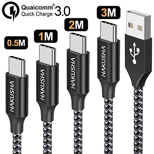 classement un comparer Câble USB Type C HAKUSHA, [Lot de 4, 0.5m 1m 2m 3m] Câble USB 3A type C en nylon tissé pour chargeurs…