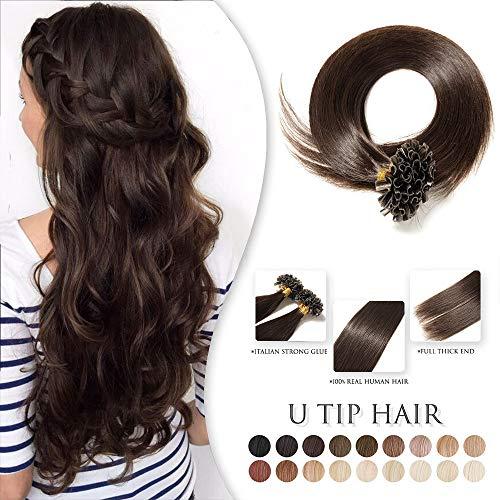 TESS Extensions Echthaar Bondings 100 Strähnen - 100% Remy Human Hair günstig U Tip Keratin Haarverlängerung 0,5g (#2 Dunkelbraun, 50cm, 50g)