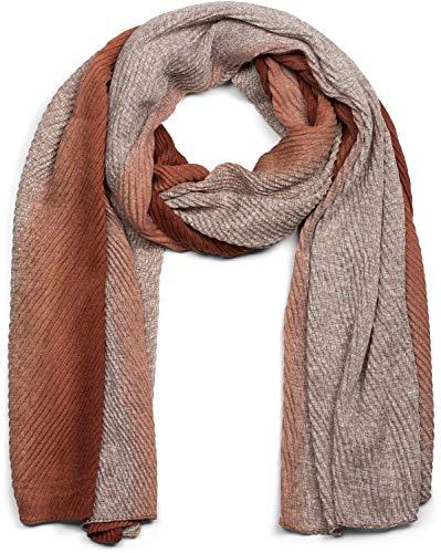 styleBREAKER Damen Schal plissiert mit Farbverlauf und Gitter Muster, Crash Look, Stola, Tuch 01017105, Farbe:Rost