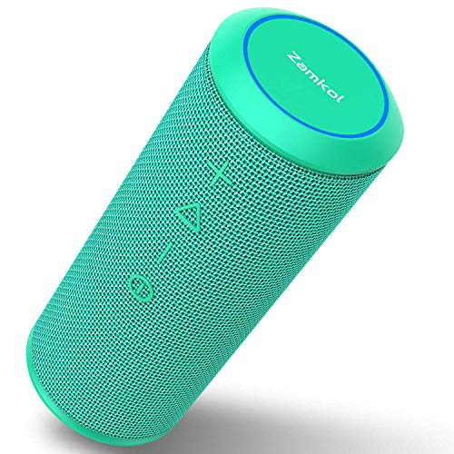 Zamkol Bluetooth Lautsprecher Subbass Leistungsstarker 24 Watt 360° Sound Wireless Bluetooth Speakers V4.2 mit Wasserfest Stoßfest Mikrofon und Reinem Bass (Grün)