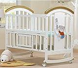 BabyTeddy® 9 in 1 Multifunctional Baby Crib, Baby Wooden Cot, Bed, Rocker,Convertible Desk