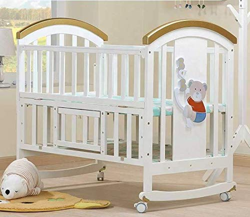BabyTeddy® 9 in 1 Multifunctional Baby Crib, Baby Wooden Cot, Bed, Rocker,Convertible Desk and Kid's Sofa with Mattress and Mosquito Net (White)