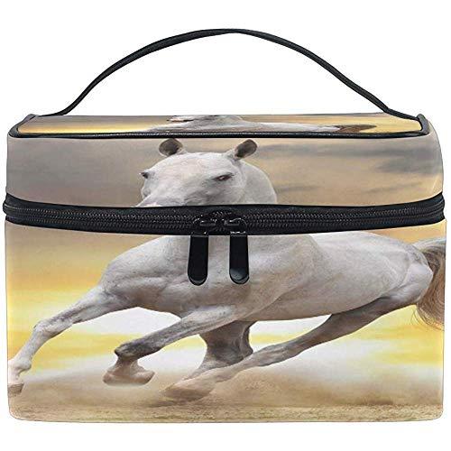 Grand Maquillage Sac Organisateur Animal Blanc Cheval Cosmétique Cas Sac De Toilette De Stockage Portable Zipper Poche Voyage Brosse Sac Pour Femmes Dame
