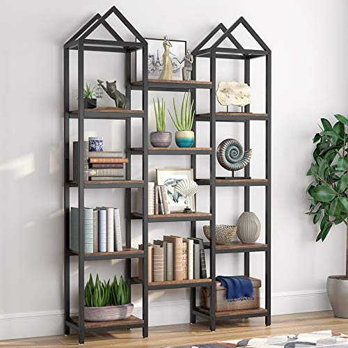Tribesigns Rustic Triple Wide Bookshelf, 12 Open Shelves Etagere Bookcase Vintage Industrial Book Shelves Wood and Metal Display Shelf Storage Organizer for Home Office (Rustic Brown)