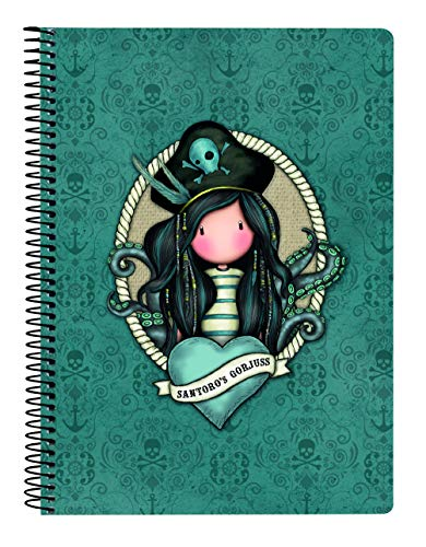 SANTORO Cuaderno 80 Hojas A5 de Gorjuss Black Pearl, Tapas Duras, 155x220mm