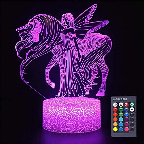 Unicorn Girls 3D Night Light LED Lámpara de ilusión óptica de 16 colores Control táctil Decoración de fiesta, lámpara 3D Visual para decoración del hogar, regalos de cumpleaños de Navidad