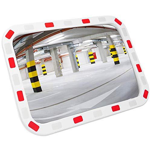 PrimeMatik - Bolle rechthoekige veiligheidssignalering en bewakingsspiegel 80x60 cm