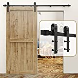 """ROOMTEC Sliding Barn Door Hardware Kit 6.6ft Heavy Duty Sturdy - Smoothly and Quietly - Easy Installation - Fit 1 3/8-1 3/4"""" Thickness Door Panel - Black(J Shape Hanger)"""
