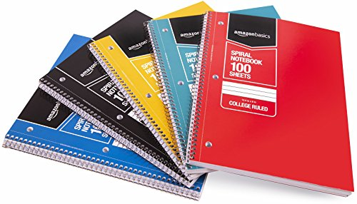Amazon Basics College Ruled Wirebound Spiral Notebook, 100 Sheets, Assorted Solid Colors, 5-Pack