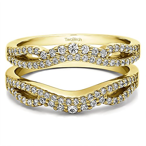 TwoBirch 0.57 Ct. Double Infinity Wedding Ring Guard Enhancer in Yellow Plated Silver with Cubic Zirconia (Size 5)