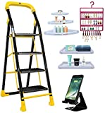 Trendy Cameo Special 4 Step Ladder Combo with Set of 3 Corner Shelves, Set of 2 Bathroom Shelves, Earring Holder, Mobile Stand