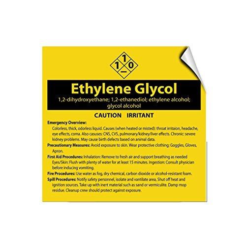 Ethylenglycol 1 2-Dihydroxyethan; 1 2-Ethandiol-Schild, Selbstklebende Vinyl-Warnaufkleber, Warnaufkleber, Van Truck Notice Safety Sign Lable Dacal 30,5 x 30,5 cm