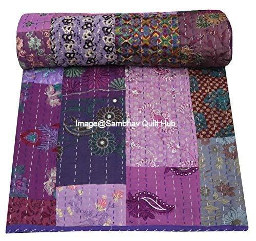 Vintage Khambadiya impresión púrpura mano Jari Patchwork Decor Queen/King Size Bordado Kantha Colcha para el hogar decorativo Khambadiya Kantha Colcha Kantha colcha india manta con 2 almohadas Sham