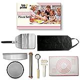 Pizza Making Kit (8 Pc Set) with Outdoor Supplies Metal Peel, Pan, Cutter Rocker, Adjustable Roller...