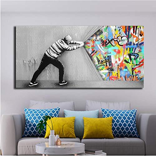 Straat Graffiti Art Olie Schilderen Creatieve Langzame Verhogen Het Gordijn Muuraffiche en Prints Grafische voor Slaapkamer Decoratie 60x120cmx1 unframed