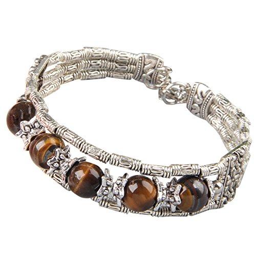 Tibetan Tibet Silver Tiger Eye Stone Bracelet Bangle 0.66' 17mm HOT Best for Friend
